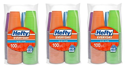 Hefty Plastic Party Cups (Assorted Colors, 16 Ounce, 300 Count) by Hefty