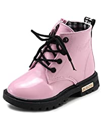WUIWUIYU Toddlers Big Little Boys Girls Outdoor Waterproof Lace-Up Side-Zip Ankle Boots Water Snow Warm Booties