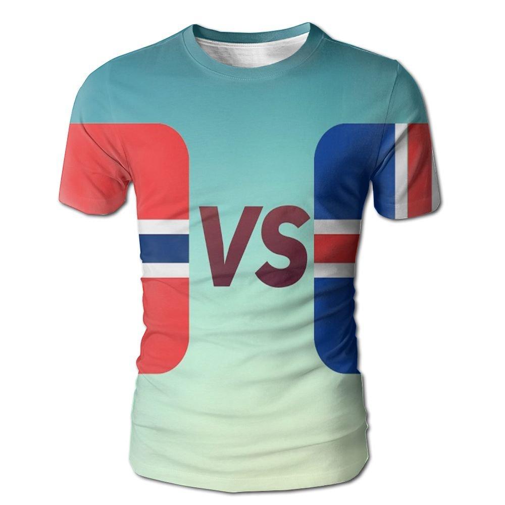 YOIGNG Hawaiian 3D Printed The Flag Of Iceland Norway T-Shirt Short Sleeve Crewneck Tee Pullover Casual Tops