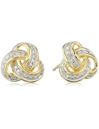 18k Gold and Rhodium-Plated Sterling Silver Two-Tone Diamond Love Knot Stud Earrings (1/10cttw, I-J Color, I2-I3 Clarity)