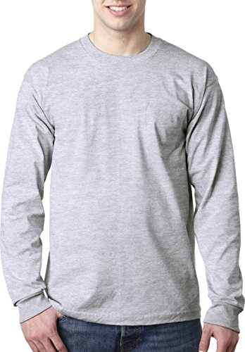 Bayside USA-Made Long Sleeve T-Shirt with a Pocket. 8100 Small Ash ()