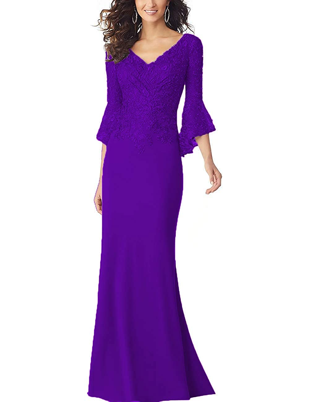 Purple PearlBridal Women's Bodycon Mermaid Mother of The Bride Dresses Lace Ruffle Sleeves Long Evening Party Gown