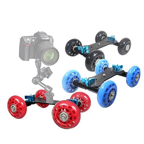 GigaMax(TM) New Table Top Dolly Mini Car Skater Track Slider Super Mute for DSLR Camera Camcorder Blue