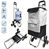 Step Up Foldable Grocery Shopping Cart Dolly – Stair Climber Utility Trolley Tote Bag – 6 Urethane Wheels for Flat or Stair Climbing – Collapsible Folding for Easy Storage - Great for Shopping (Gray)
