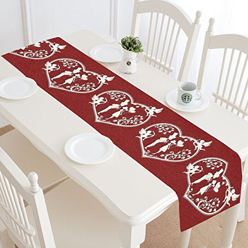 Heart Table Runner - InterestPrint Red Love Hearts with Cupids Cotton Table Runner Placemat 14 x 72 inch, Valentine Wedding Couple Table Linen Cloth for Office Kitchen Dining Wedding Party Home Decor