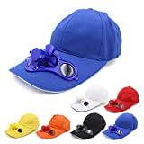 3-Pack Cowin Solar Fan Hat Cooled Baseball Hat with Solar Fan Built in, Solar Panel On The Cap Front Eco Friendly Camping Traveling, White/Red/ Yellow/Blue Optional