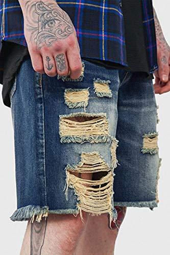 Qk Blau Da E Corti Con Fori Denim Pantaloncini Uomo In Den Strappati lannister Jeans Ragazzo S6xrwgS