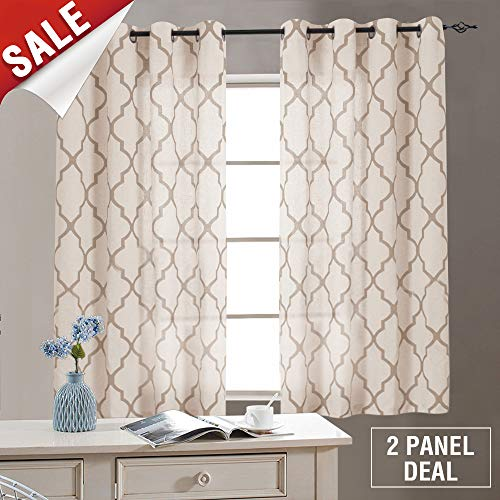 Cheap jinchan Moroccan Print Taupe Curtains for Living Room- Quatrefoil Flax Linen Blend Textured Geometry Lattice Grommet Window Treatment Set for Bedroom – 50″ W x 45″ L – (2 Panels)