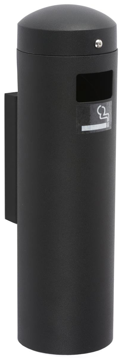 Displays2go Self-Extinguishing Smokers Disposal, Top Lid Safety Chain, Stainless Steel Build – Black (SMOKWM12BK)