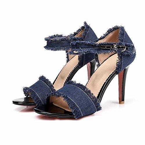 YE Damen Ankle Strap Denim Sandalen Stiletto High Heels mit Riemchem und 10cm Absatz Elegant Schuhe