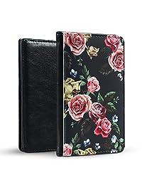 Lizimandu Passport Holder Travel Wallet - Protective Premium PU Leather Wallet Case - Securely Holds Passport, Business Cards, Credit Cards, Boarding Passes(Black Rose2)