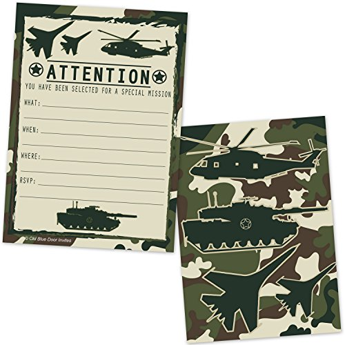Military Camo Boys Birthday Party Invitations - Camouflage Soldier Fighter Jet Tank Helicopter Invite - (20 Count with Envelopes)