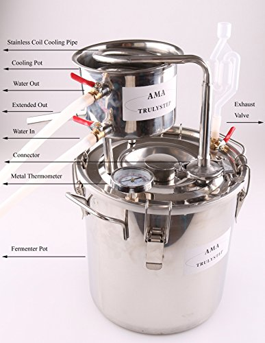 AMA_TRULYSTEP DIY Home Distiller Moonshine Still Stainless Boiler Thermometer Wine Spirits Essential Oil Water Brewing Kit (Stainless Steel, 12 Litres / 3 Gallon) Special Price