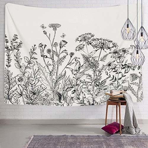 (BLEUM CADE Herbs Plant Wild Flowers Tapestry Wall Hanging Floral Plants Tapestry Nature Scenery Tapestry for Living Room Bedroom Dorm Home Decor )