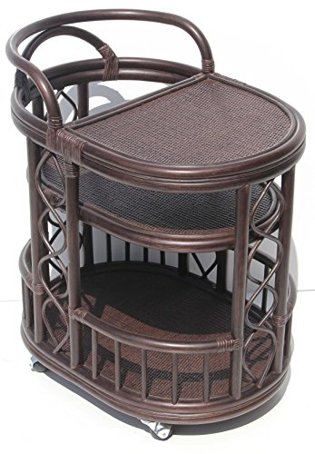Moving Serving Cart Bar Table Natural Rattan Wicker Exclusive Handmade ECO, Cognac by SunBear Furniture (Image #6)'