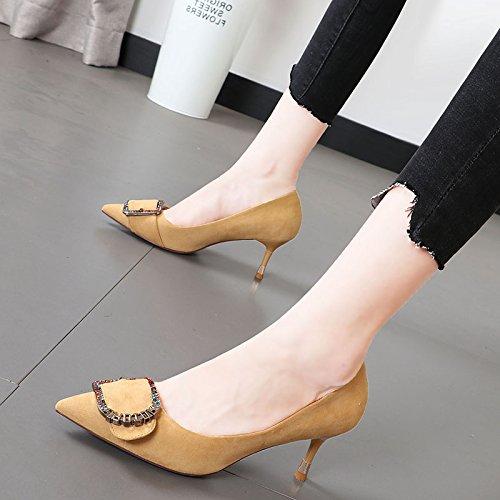 del moda para Heel Shoes salvaje zapatos punta luz Luz Xue Qiqi femeninos amarilla fina alto fiesta singles con pqEwx7YIY