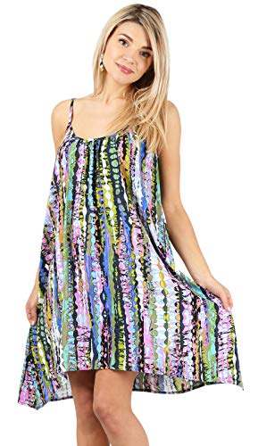 (Spaghetti Strap Sleeveless Dress Boho Reg and Plus Size Summer Swing Dresses for Women - Made in USA (Size Small US 2-4, Lavender/Lime Print))