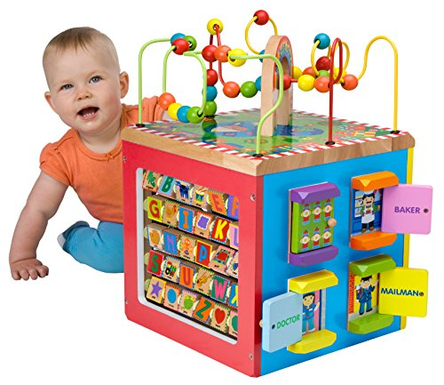 ALEX Jr. My Busy Town Wooden Activity Cube is one of the best toys for babies