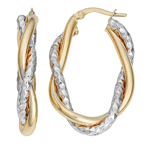 Two Tone Gold Oval Hoop - 7
