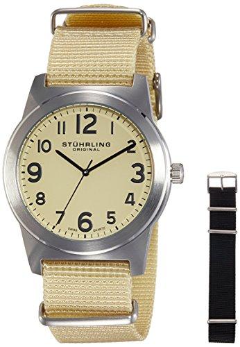 Stuhrling Original Men's 409.SET.01 Contrail Swiss Quartz Interchangeable Canvas Strap Set Watch
