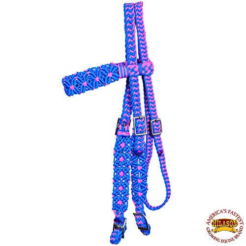 HILASON Turquoise/Pink Horse Bridle Headstall Crossnet Braided Paracord