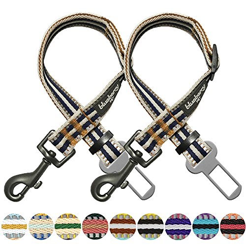 Blueberry Pet Pack of 2 3M Reflective Multi-Colored Stripe Adjustable Dog Seat Belt Tether for Dogs Cats, Olive and Blue-Gray, Durable Safety Car Vehicle Seatbelts Leads Use with Harness by Blueberry Pet