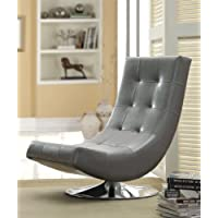 Furniture of America Dresden Leatherette Swivel Armless Accent Chair, Gray