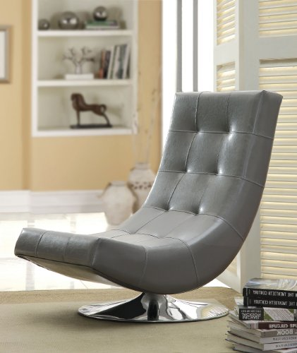 Furniture of America Dresden Leatherette Swivel Armless Accent Chair, ()