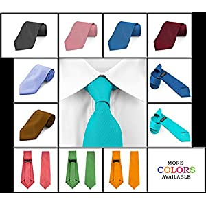 Dabung- Men's Necktie Solid Colors, Men Fashion Tie Polyester Ties 57 x 3.5 in