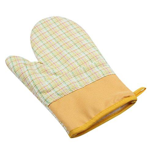 lqchlグリッドコットンオーブン手袋耐熱性マイクロ波オーブンキッチングローブ イエロー wersfv126548424 B0784TFLBK イエロー