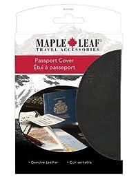 Maple Leaf ML1006BK Luggage Leather Passport Cover, International Carry-on, Black