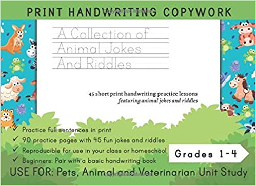 A Collection Of Animal Jokes And Riddles Print Handwriting Copywork Use For Animal Jokes And Riddles Unit Study For Grades 1 3 Ariana Marshall Creative 9798676129842 Amazon Com Books