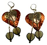 Copper and Sterling Hammered Double Hearts Dangle Earrings - Smoked Topaz