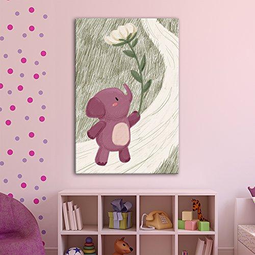 Cute Cartoon Animals A Pink Elephant with a Giant Flower Kid