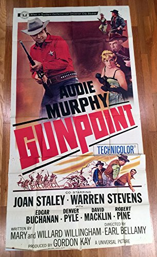 Gunpoint (1966) Original Three Sheet Movie Poster 41x81 Folded AUDIE MURPHY EDGAR BUCHANAN JOAN STALEY Film Directed by EARL BELLAMY