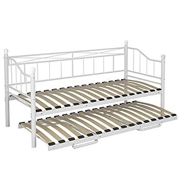 Miadomodo – Cama de día (cama de metal) sin ruedas de diseño romántico de