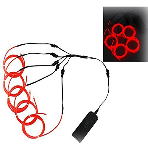 [Ourbest Orange El Wire 1M5 Red Glowing Strobing with Battery Pack Controller bike Cosplay Dress for Christmas Party] (Work Team Costumes)