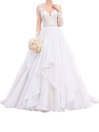 Amazon Com Jdress Women S Lace Applique Wedding Dress Sash Long