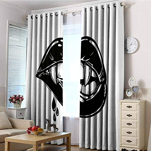 EwaskyOnline Sliding Door Curtains,Vampire Sexy Vampire Biting Her Lips Pop Art Print in Flash Tattoo Style Seductive Sensual,Hipster Patterned,W108x108L Black - Sensual Hipster