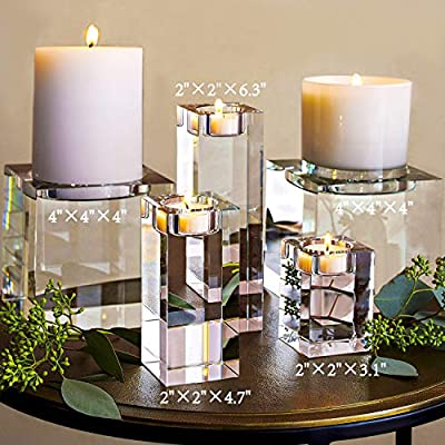 Amazing Home Large Crystal Candle Holders Set of 3, 3.1/4.7/6.3 inches Height,Prepackaged Elegant Heavy Solid Square Tealight Holders Set Centerpieces for Home Decoration,Wedding and Anniversary