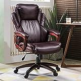 ovios Executive Office Chair,High Back Desk Chair,Leather Computer Desk Chair for Home Office. (Brown)