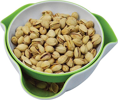 H-10198 Double Dish Pedestal Serving Snack Dish For Peanuts Pistachios Cherries Edamame Fruits Candy Snacks, Green (Double Nut Dish)
