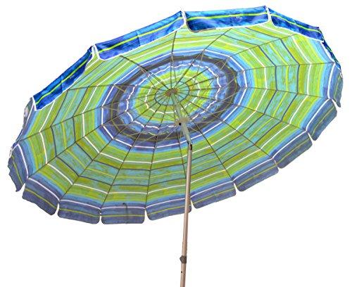 Impact Canopy 8' Beach Umbrella, UV Protected, Vented, Tilt Pole, Sand Anchor, Carry Bag, Blue/Green