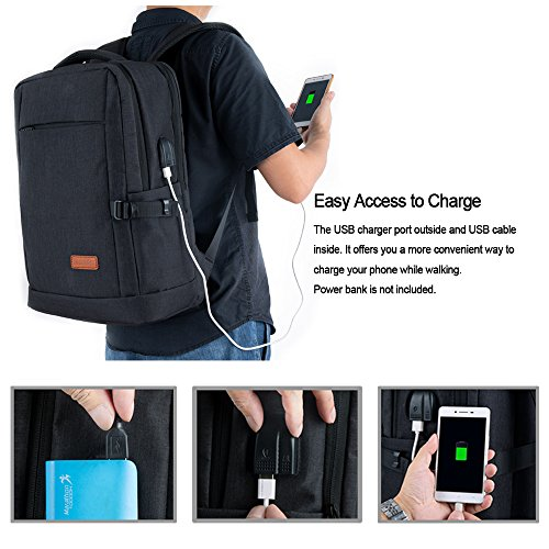 Laptop Backpack, Water Resistant College Students School Bag Travel Computer Backpack for Men Women with USB Charging Port and Headphone Port, Fits Business Laptops Notebooks up to 15.6 Inches by Yomuder (Image #2)