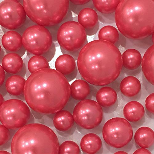 No Hole 80 All Coral Pink Pearls - Jumbo/Assorted Vase Fillers for Decorating Centerpiece - to Float The Pearls, Order The Transparent Water Gels