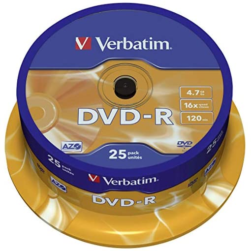 Verbatim DVD-R Discs 25 Spindle Pack, Bulk Pack 25 x DVD-R Blank Discs with AZO Protection Against UV, 16x Speed, 4.7 GB