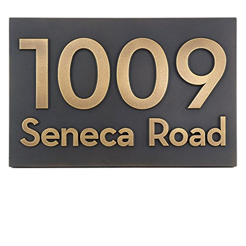 Bold Classy Modern Font Street Address Plaque - 13x8.5 - Brass Metal Coated Custom Number Sign by Atlas Signs and Plaques
