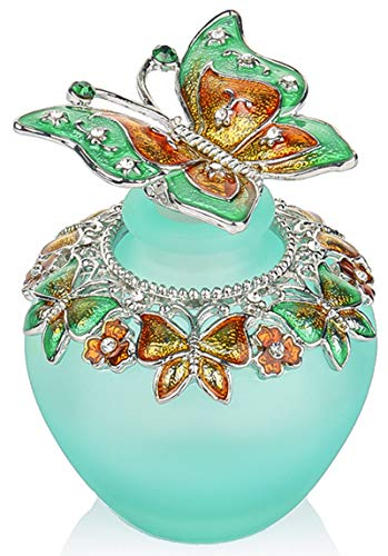 (YU FENG Empty Refillable Glass Perfume Bottle,Retro Frosted Butterfly Lid Perfume Bottle (Butterfly) )