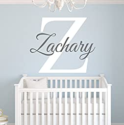 Custom Name Monogram Wall Decal for Boys - Nursery Wall Decals - Name Wall Decor Vinyl