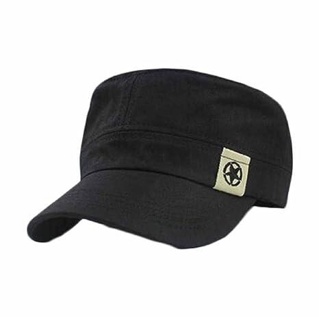 991bc833307 Willtoo(TM) Flat Roof Military Hat Cadet Patrol Bush Hat Baseball Field Cap  (Black)  Amazon.ca  Clothing   Accessories